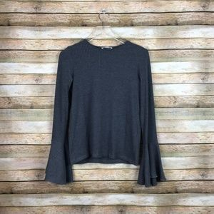 Zara • Ribbed Bell Sleeve Top Size Medium Grey